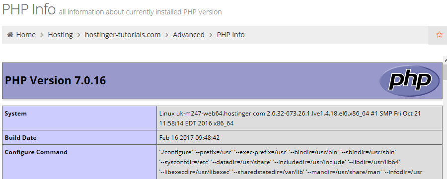 PHP info section screen